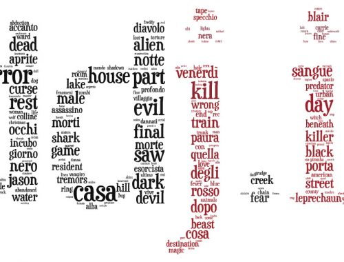 Tag cloud dei titoli di film horror su logo di ddjit